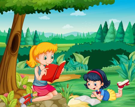 Two girls reading books in park illustration