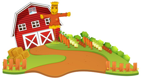 Farm scene with scarecrow and vegetables garden illustration