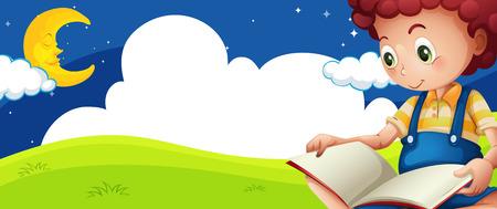 Little boy reading book at night illustration