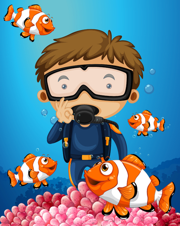 Man diving underwater with many clownfish illustration Illustration