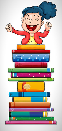 reader: Happy girl jumping over stack of books illustration