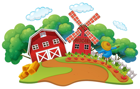 Farm scene with vegetables garden illustration