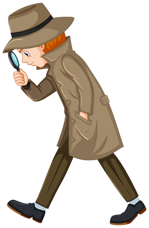 Detective looking for clues with magnifying glass illustration