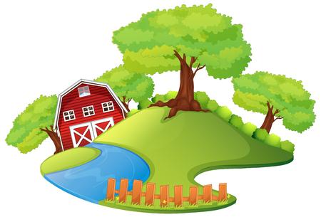 Scene with barn in the farm illustration