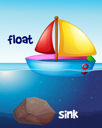 Opposite words for float and sink illustration Illustration