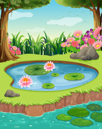 Little pond by the river in the forest illustration
