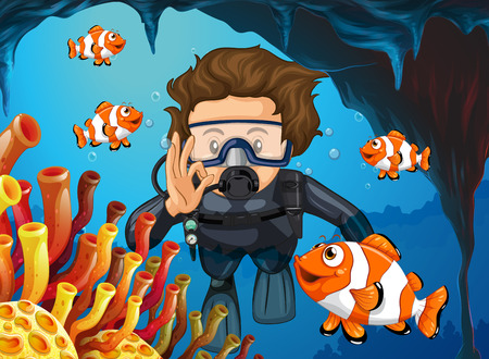 Scuba diver diving underwater with clownfish illustration Illustration