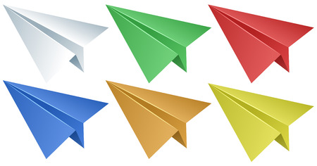 Paper airplanes in six colors illustration Illustration