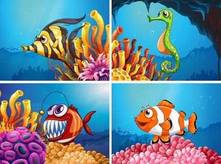 Animaux de mer sous l'illustration de la mer Banque d'images - 81314538