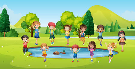 Boys and girls standing round the pond illustration