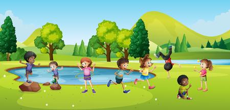 Happy children playing in park illustration Illustration