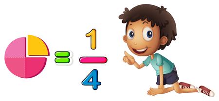 Niño aprendiendo fracción en la ilustración de fondo blanco