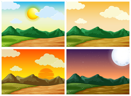 Four countryside scenes at different time of day illustration