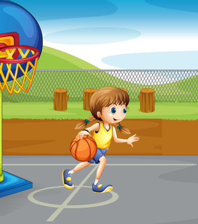 Girl playing basketball in the court illustration