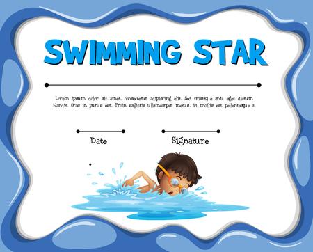 Zwemmende ster certificatie sjabloon met zwemmer illustratie