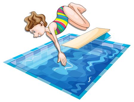 여자 수영장 그림에서 점프