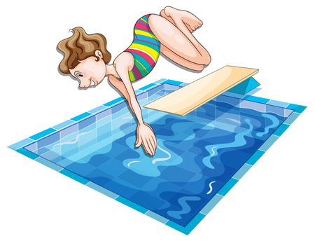 Woman jumping in the pool illustration