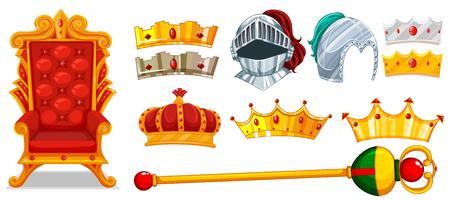 Corone e cavaliere illustrazione casco