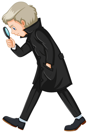 Detective in black costume illustration