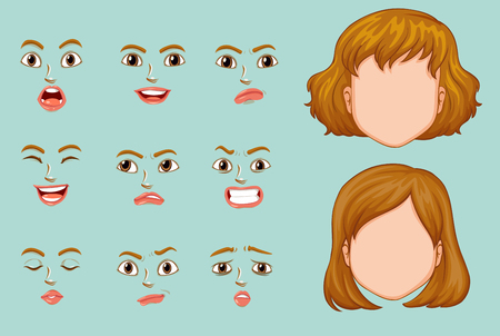 Woman faces with different expressions illustration Illustration