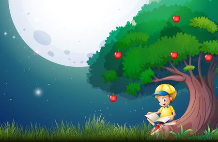 Boy reading book under apple tree illustration Illustration