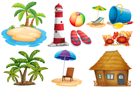 Summer set with island and bungalow illustration Illustration