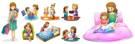 母と子供の図で異なるアクション