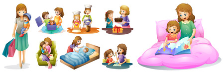 Mother and kids in different actions illustration