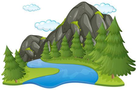 Scene with river and mountain illustration