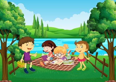 Children having picnic by the river illustration