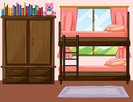 bunkbed: Bedroom with bunkbed and closet illustration