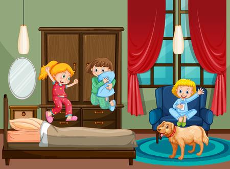 Bedroom scene with kid at slumber party illustration Illustration