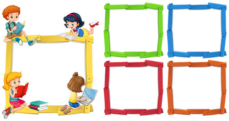 Frame template with happpy children reading books illustration Reklamní fotografie - 82338887