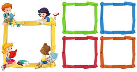Modèle de cadre avec des enfants heureux, lire des livres illustration Banque d'images - 82338887