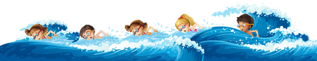 Children swimming in the ocean illustration
