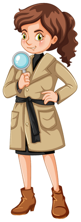 Female detective with magnifying glass illustration Illustration