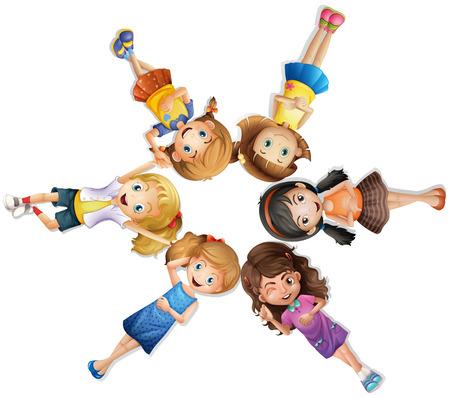 Girls lying in circle illustration
