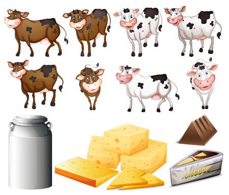 Cows and dairy products illustration