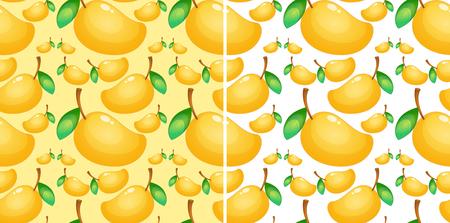 Seamless background with fresh mango illustration