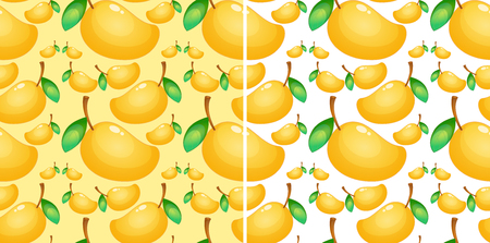 Seamless background with fresh mango illustration
