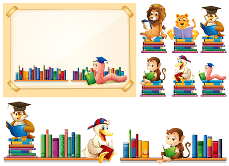 Paper frame and many animals reading books illustration