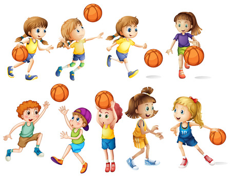 Girls and boys playing basketball illustration