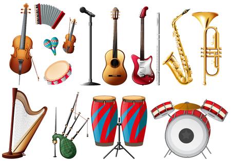 acordeon: Los diferentes tipos de instrumentos musicales ilustración