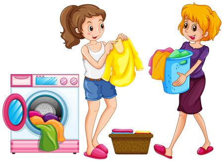 Two women doing laundry illustration Иллюстрация