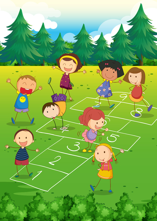 Kids playing hopscotch in the park illustration