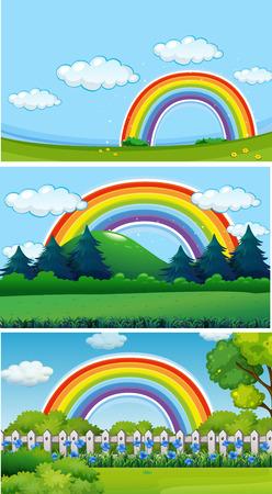 Three park scenes with rainbow illustration Illustration