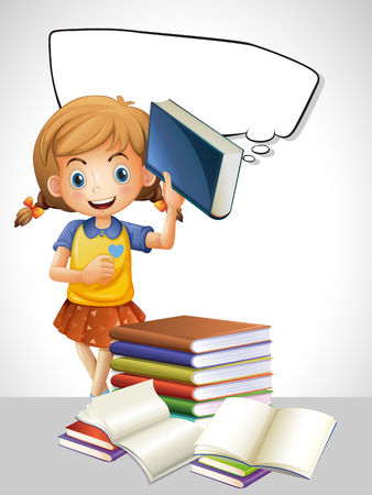 Girl reading book and bubble template illustration