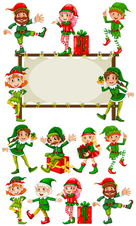 elves: Border template with christmas elves illustration
