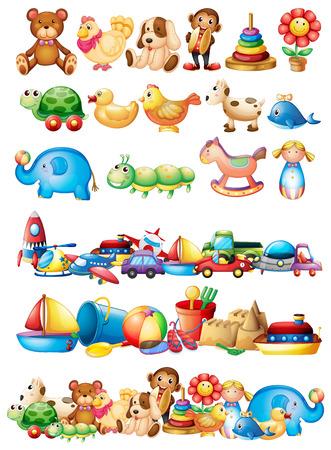 다양한 종류의 장난감 일러스트 레이션