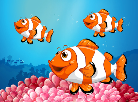 Three clownfish under the ocean illustration Illustration